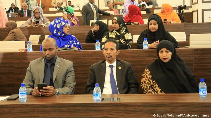 A general view of Somalia's parliament is seen as members of parliament cast their votes for newly appointed Mohamed Hussein Roble during a vote of confidence session