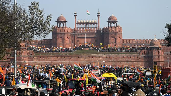 Protesters are seen at the Red Fort as farmers continue to protest against the central government's recent agricultural reforms