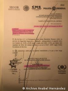 Documento dirigo a García Harfuch el 26 de septiembre de 2014