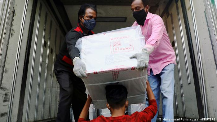 A vaccine shipment arrives Wednesday in Bangladesh