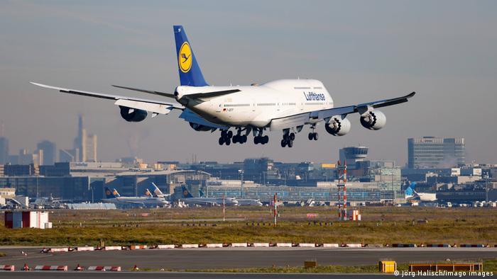 Lufthansa flight takes off
