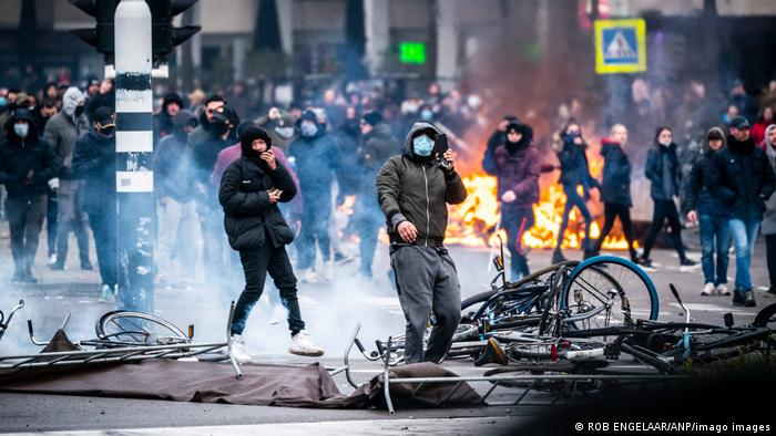 Anti-lockdown and curfew protesters in Eindhoven