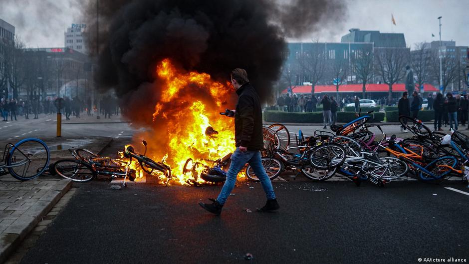 Burning bikes in Eindhoven, Netherlands