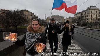 Протесты в Праге в январе 2021 года против слишком жестких ограничений из-за пандемии