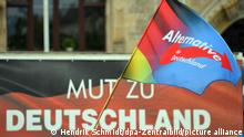 An AfD flag and banner that reads in German: courage to Germany