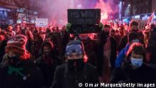 Pro-choice protesters hold up banners during a protest on January 27, 2021 in Warsaw, Poland. January 27, 2021.
