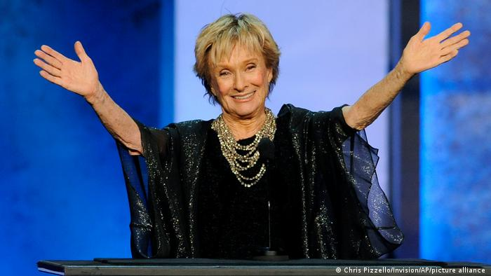 Actress Cloris Leachman gestures to honoree Mel Brooks in the audience during the American Film Institute's 41st Lifetime Achievement Award Gala on June 6, 2013, in Los Angeles.