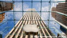 Entrance to Apple Store in Fifth Avenue, New York City, Manhattan, USA
