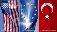 Bildkombo Flaggen USA EU Türkei
