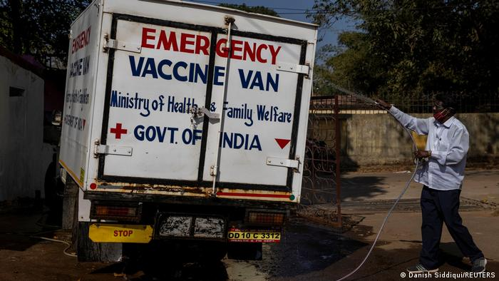 A vaccine delivery truck in India