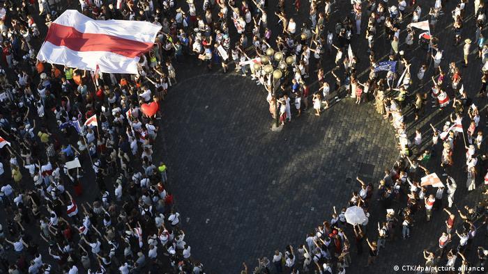 Акция солидарности с Беларусью в Чехии
