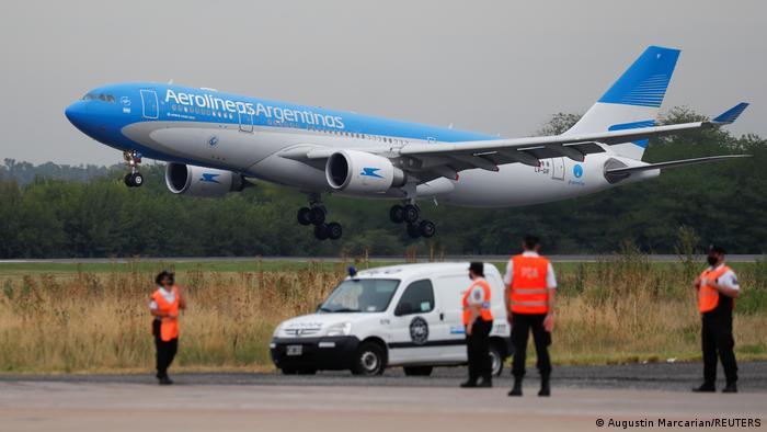 Aerolineas Argentinas plane landing at Ezeiza International Airport