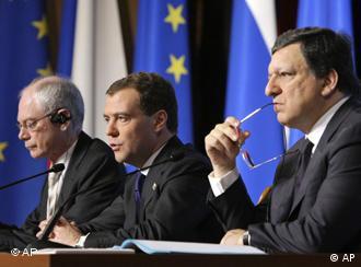 Херман Ван Ромпей, Дмитрий Медведев и Жозе Мануэл Баррозу