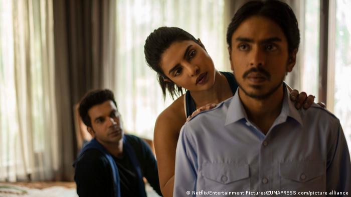 Adarsh Gourav (pictured right) with Priyanka Chopra and Rajkummar Rao (pictured left)