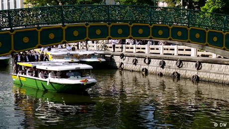 A ferry boat on a canal in Bangkok