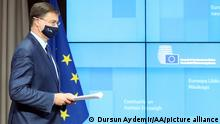 BRUSSELS, BELGIUM - DECEMBER 01: EU Commission Vice-President Valdis Dombrovskis (in picture) holds a joint press conference with German Federal Minister of Finance Olaf Scholz (not seen) in Brussels, Belgium on December 01, 2020. Dursun Aydemir / Anadolu Agency