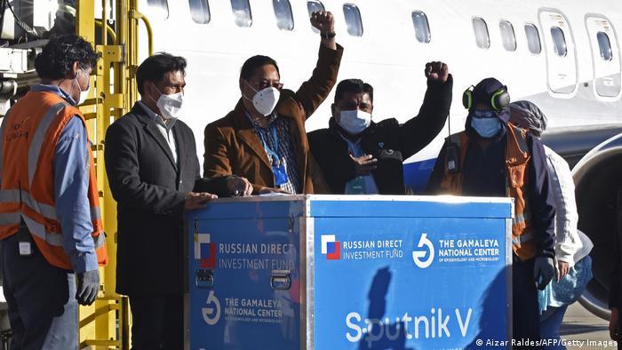 Прибуття першої партії вакцини Спутник V в Болівію.