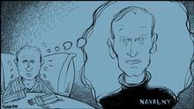 Karikatur von Vladdo. Tittle: ,la pesadilla de Putin'