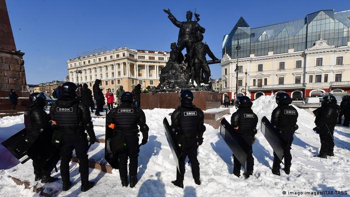 Russland | Unerlaubter Protest zur Unterstützung des Oppositionsaktivisten Navalny