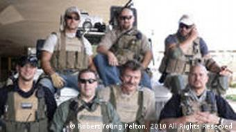 Pelton with Blackwater security team in Baghdad, Iraq, 2004