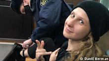 Maria Aljokhiva, russische Aktivistin (Ex Pussy Riot) im Gerichtssaal am 29.01.2021. Co: Daniil Berman