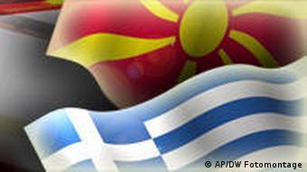 Griechenland Mazedonien Bildkombo Flaggen