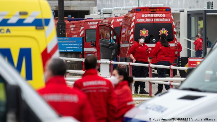 Ambulances lined up in front of a hospital in Lisbon, Portugal