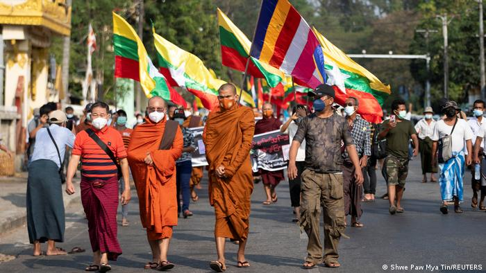 Buddhist monks, supporters of Myanmar's military, take part in a protest