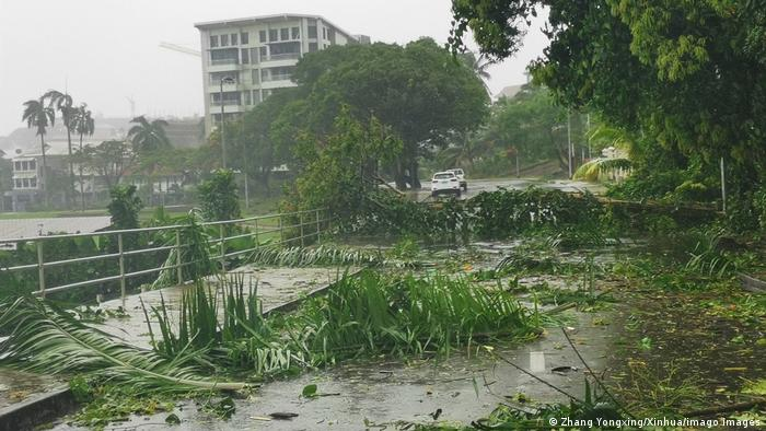 Fallen branches in the street following the landfall of tropical Cyclone Ana in Suva