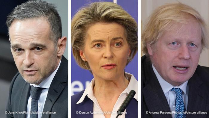 Heiko Maas, Ursula von der Leyen, Boris Johnson