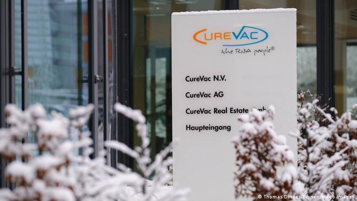 Eingang der Curevac-Firmenzentrale in Tübingen