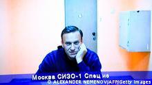 Russland Moskau Gerichtsanhörung für Nawalny per Video