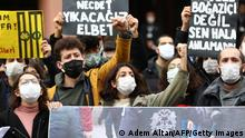 Ankara University students demonstrate to show their support with Bogazici University sutdents' protesting against the appointment by the Turkish government of a new rector, in front of Ankara University in Ankara, on January 12, 2021. (Photo by Adem ALTAN / AFP) (Photo by ADEM ALTAN/AFP via Getty Images)