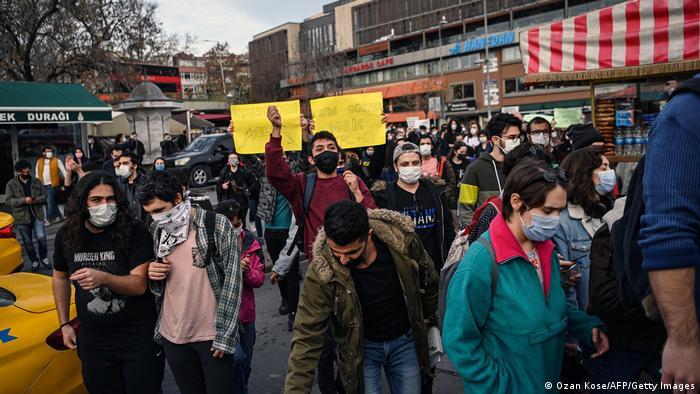 Демонстранты-студенты в Стамбуле