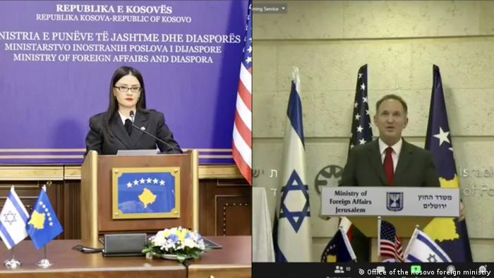Kosovo Foreign Minister Meliza Haradinaj and Israeli Foreign Minister Gabriel Ashkenazi at a virtual press conference