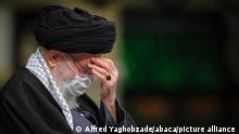Iran's supreme Leader Ayatollah Seyed Ali Khamenei, sitting next to Qasem Soleimani major generalcommander of Quds Force of the Islamic Revolutionary Guard Corpsduring Mourning ceremony of the martyrdom of Hazrat Fatima Zahra in Tehran, Iran,17/01/2021- Photo by Alfred Yaghobzadeh/ABACAPRESS.COM