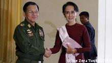 Myanmar Naypyitaw Senior General Min Aung Hlaing und NLD Partei Anführer Aung San Suu Kyi