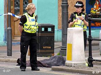 Police stand next to body in Whitehaven, Cumbria
