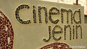 Sign outside the newly restored cinema in Jenin.