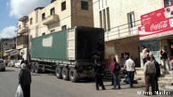 A truck parked outside the Jenin cinema