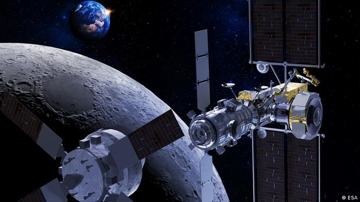 An artist's illustration of the Orion spacecraft orbiting the moon