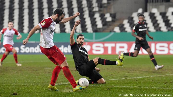 Simon Engelmann rifles home the winning goal for Rot-Weiss Essen.