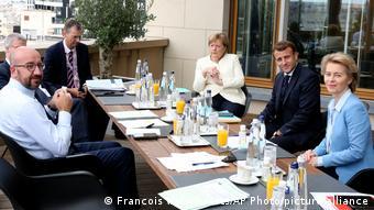 Βρυξέλλες Σύνοδος Κορυφής ΕΕ   Μισέλ, Μέρκελ, Μακρόν και φον ντερ Λάιεν