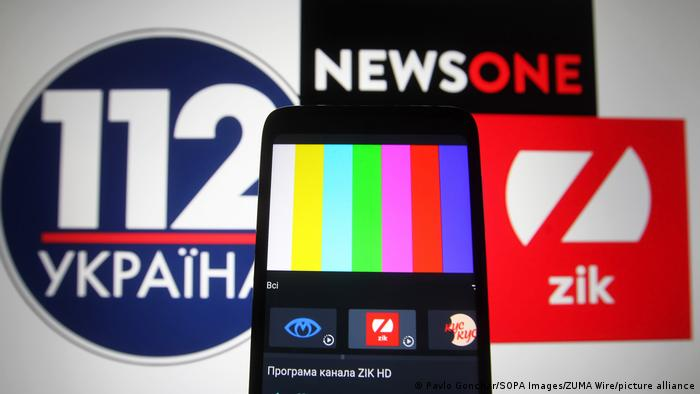 The logos for TV channels 112 Ukraine, NewsOne und ZIK