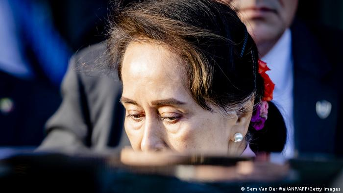 Myanmar Aung San Suu Kyi getting into a car after a hearing on the Rohingya genocide case before the ICJ in The Hague, December 12, 2019