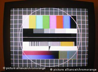 A TV displaying a test pattern
