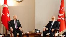 Vorsitzenden der Parteien CHP (Republikanische Volkspartei) und und Saadet Partei: Kemal Kilicdaroglu (links) und Temel Karamollaoglu (rechts). Foto ist von der Agentur ANKA, wo wir abonniert sind.