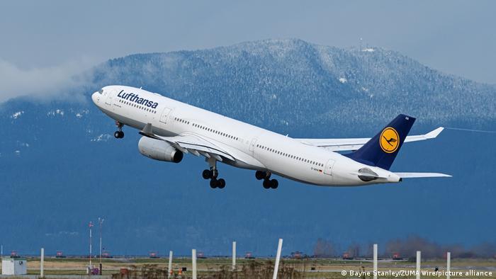Lufthansa A330-300 jet taking off
