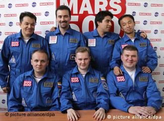 The Mars 500 team from July 2009 posing for cameras