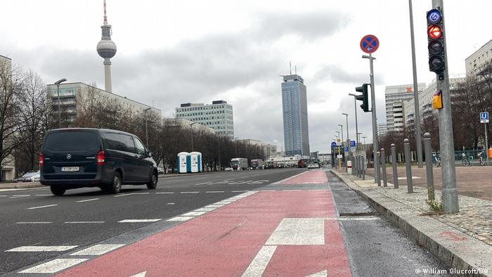 bike lane on Karl-Marx-Allee, a major thoroughfare in Berlin